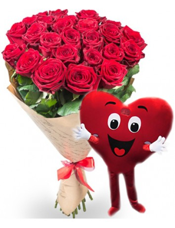 Букет Розы любви + Курьер Сердце