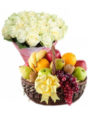 Букет Облако роз + Корзина фруктов