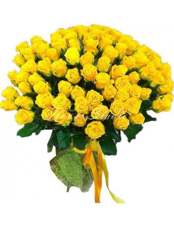 Букет Сказки августа из 101 желтой розы