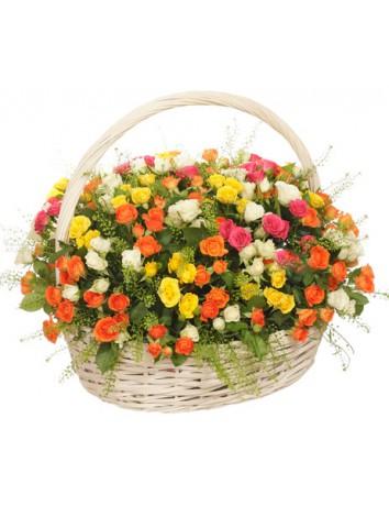 Букет Полет за мечтой из 101 разноцветной кустовой розы в корзине