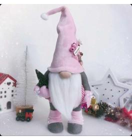 Новогодний розовый Гном