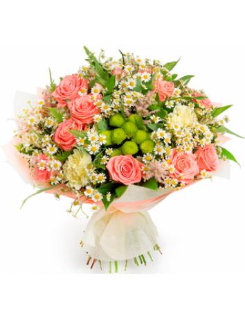 Букет Летний миг из роз, ромашки и зелени