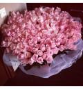 Букет Розовое сердце из 201 розовой розы