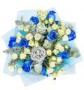 Букет Куршель из синих и белых кустовых роз с зеленью