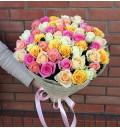 Букет Цветочная фантазия из 51 разноцветной розы