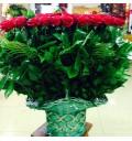 Букет Влюбленное сердце из 101 красной розы в корзине