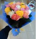 Букет Воздушный из белых, розовых, оранжевых роз