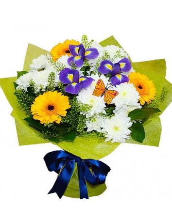 Букет Тихий сад из хризантемы, герберы и ириса с декором