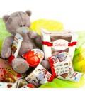 Подарочный набор Маленькая принцесса из шоколада, игрушки и букета цветов в корзине