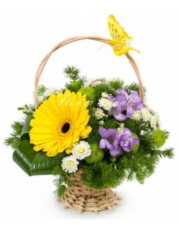 Букет Летняя корзинка из фрезии, герберы, хризантемы в корзине