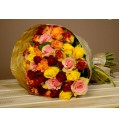 Букет Акварель из 25 разноцветных роз