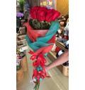 Букет Ты в моем сердце из красных голландских роз с декором