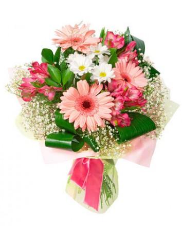 Букет Анастасия из гербер, хризантем и альстромерии с зеленью