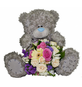 Набор Плюшевый мишка и цветы