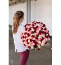 Букет Спектр любви из 201 красной, белой и розовой розы