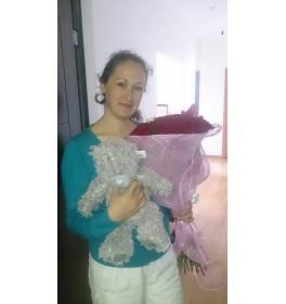 """Букет """"Избранная"""" + Мишка Тедди без кофточки"""