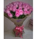 Букет Праздничное настроение из 51 розовой розы