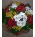 Букет Жаркий день из гербер, хризантем и альстромерий