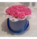 Букет Милая принцесса из 29 розовых роз в шляпной коробке
