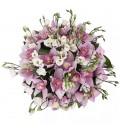 Букет Волшебные бабочки из эустомы и орхидеи