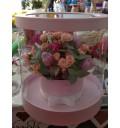 Цветы в прозрачной коробке из роз и тюльпанов в шляпной коробке