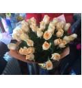 Букет Кремовое наслаждение из 51 кремовой розы