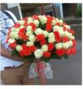 Букет Роскошный из 101 белой и оранжевой розы